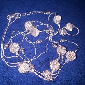 Silver Coils & Rhinestone Balls Long Necklace